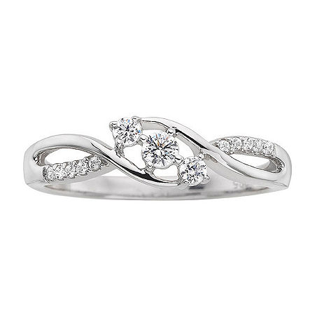 Love Lives Forever 1/3CT. T.W. Diamond 10K White Gold 3-Stone Promise Ring, 7 , No Color Family