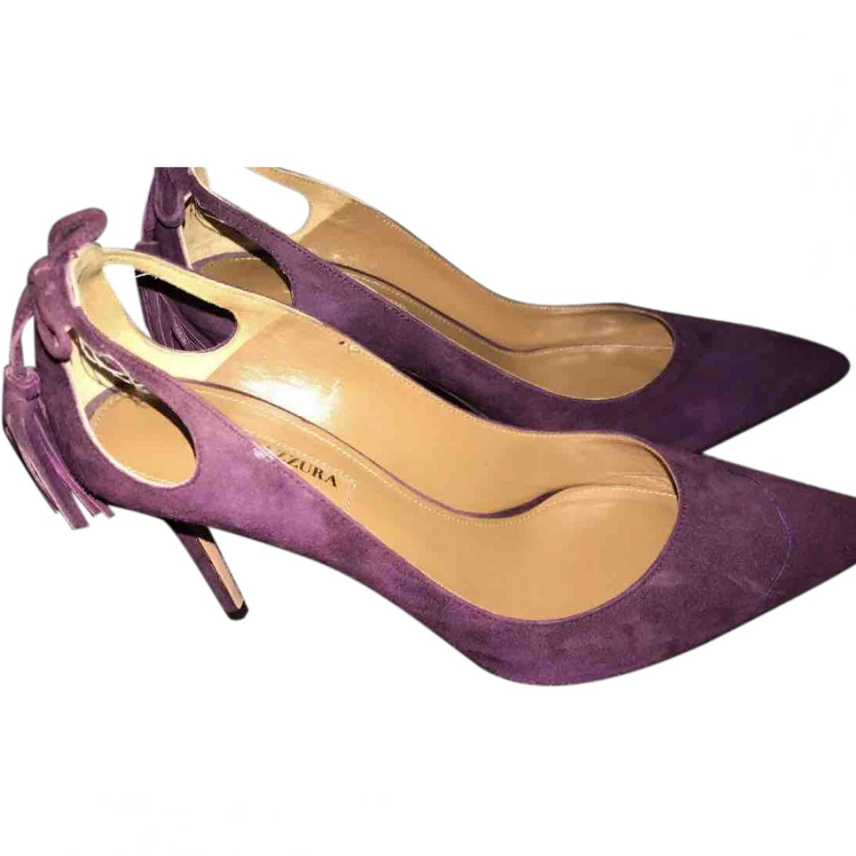 Aquazzura \N Purple Suede Heels for Women 37 EU