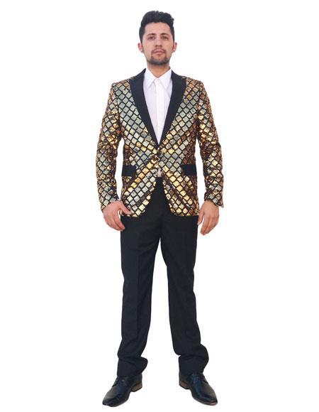 Men's Sequin 2 Button Black Peak Lapel Gold Checked Pattern Blazer