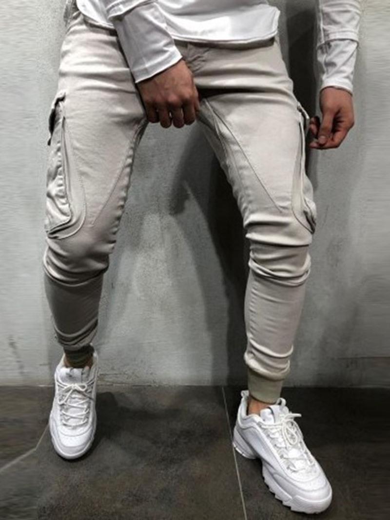 Ericdress Thick Pencil Pants Plain Four Seasons Mens Casual Pants