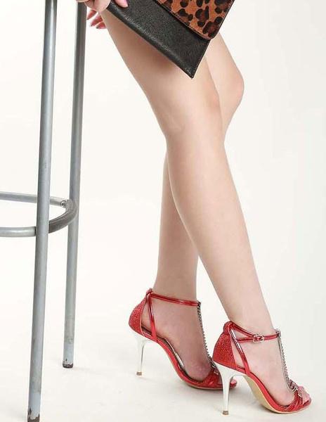 Milanoo Sexy PU Leather Rhinestone Chain Stiletto Heel Bridal Sandals