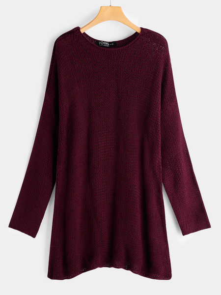 Yoins Burgundy Plain Round Neck Long Sleeves Loose Fit Sweaters