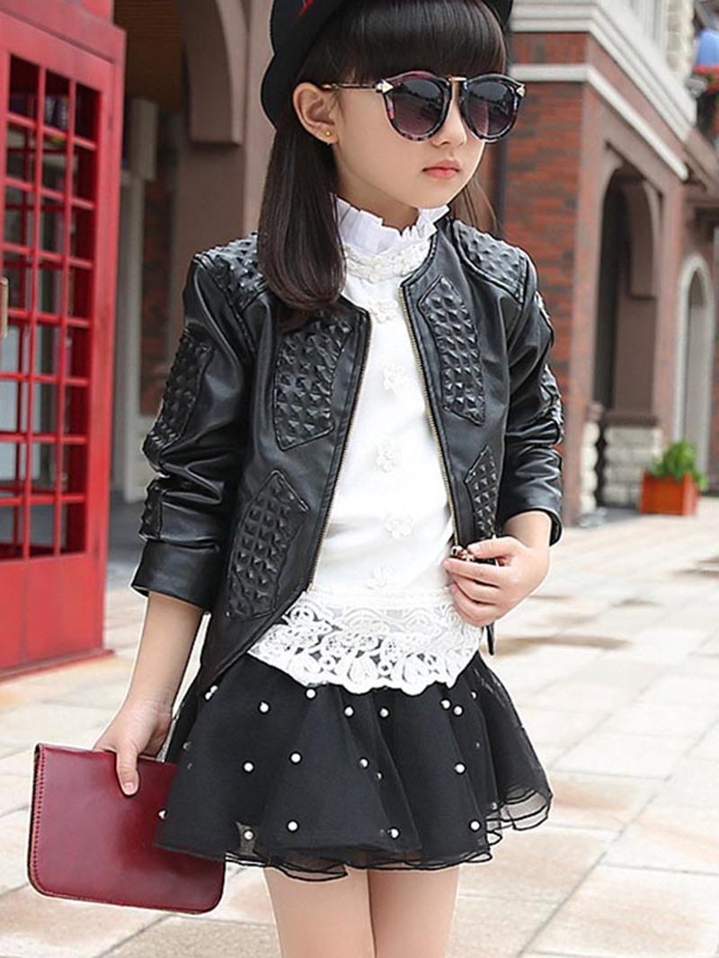 Ericdress Plain PU Zipper Girls Outerwear