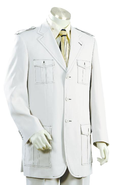 3 Button White Safari Long Sleeve Military Style Suit Mens