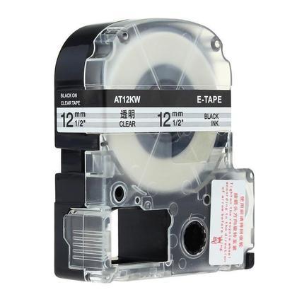 Epson LK-4TBN Compatible Labelworks Standard Lk Tape, 12mm(1/2''), Black on Clear