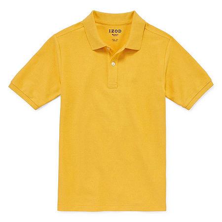 IZOD Pique Little & Big Boys Short Sleeve Stretch Polo Shirt, X-large Husky , Yellow