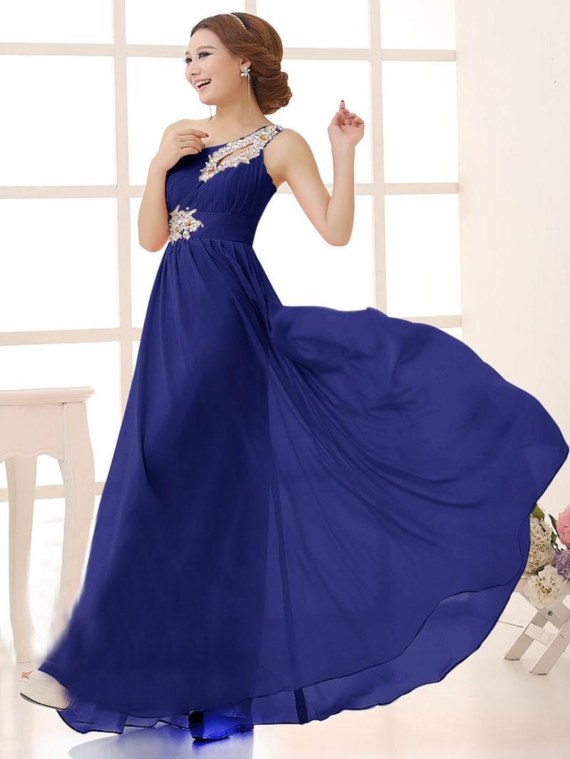 Eleagnt A-Line One Shoulder Beading Bridesmaid Dress