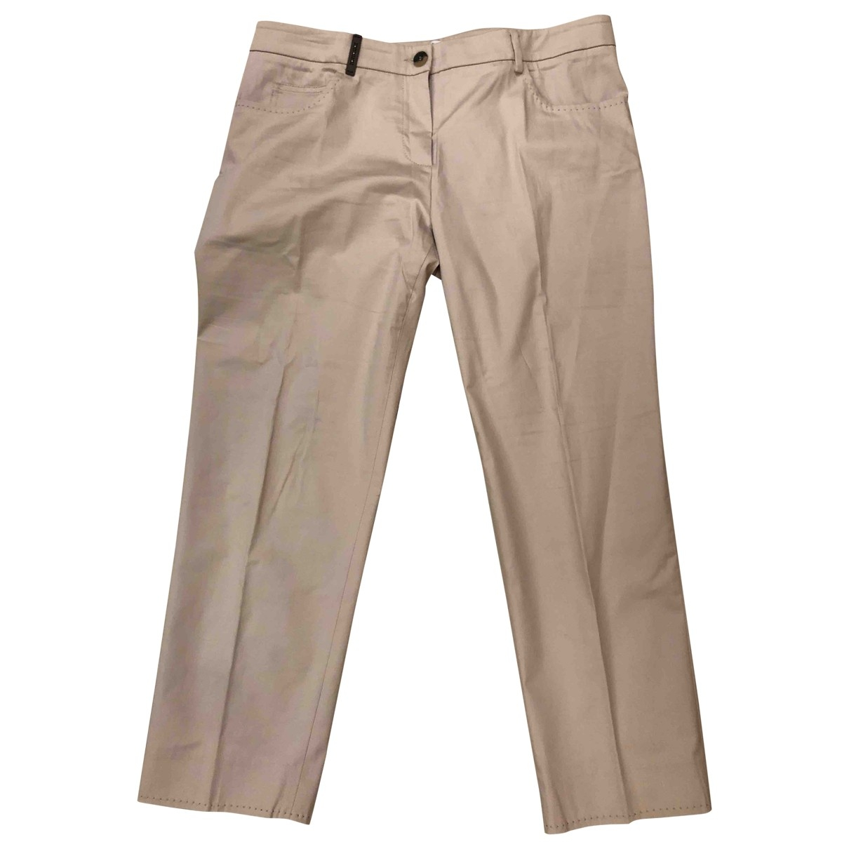Peserico \N Beige Cotton Trousers for Women 46 IT