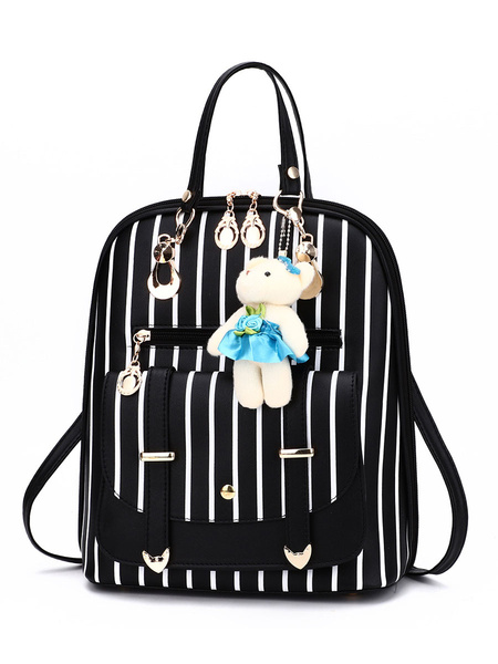 Milanoo Sweet Lolita Bag Black PU Leather Backpack Lolita Accessories