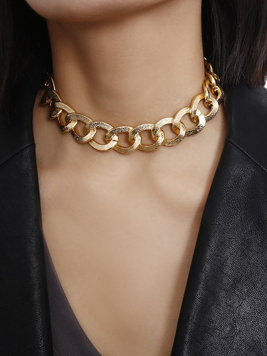 Punk Textured Chain Choker Necklace