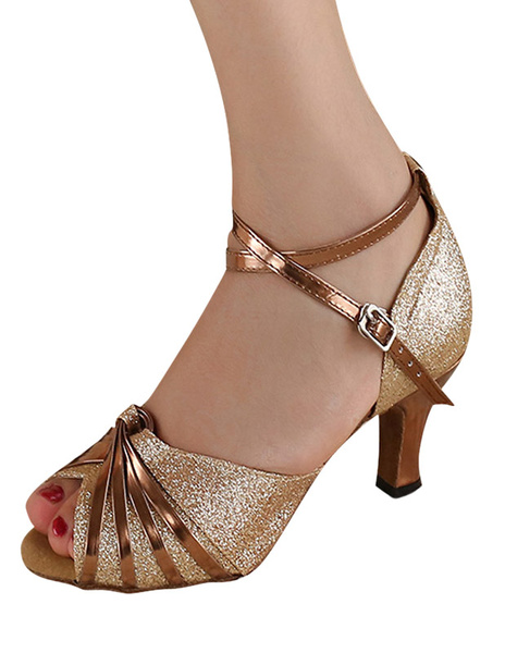 Milanoo Gold Peep Toe Glitter Latin Dance Sandals Ballroom Shoes