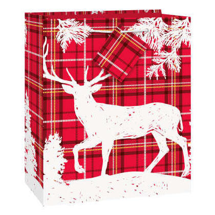 Sac cadeau moyen de Noël Cerf à carreaux