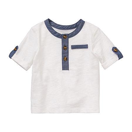 Okie Dokie Baby Boys Short Sleeve Henley Shirt, 9 Months , White
