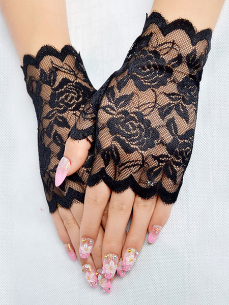 Milanoo Lace Wedding Gloves Black Summer Short Bridal Gloves