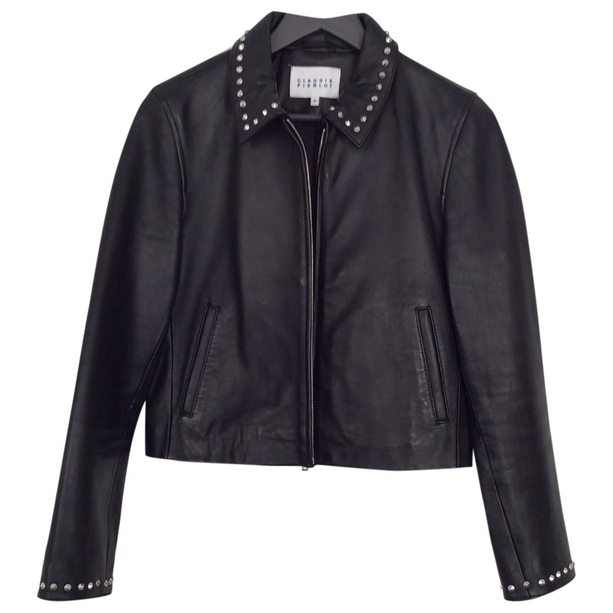 Claudie Pierlot \N Black Leather Leather jacket for Women 40 FR