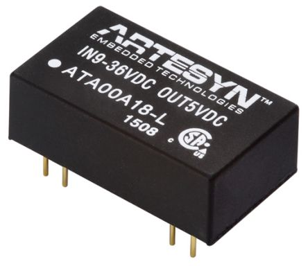 Artesyn Embedded Technologies ATA 3W Isolated DC-DC Converter Surface Mount, Voltage in 9 → 36 V dc, Voltage out