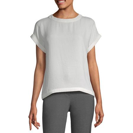 Worthington Womens Round Neck Short Sleeve Blouse, Xx-large , White