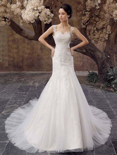 Milanoo Chapel Train Ivory Applique Tulle Wedding Dress For Bride