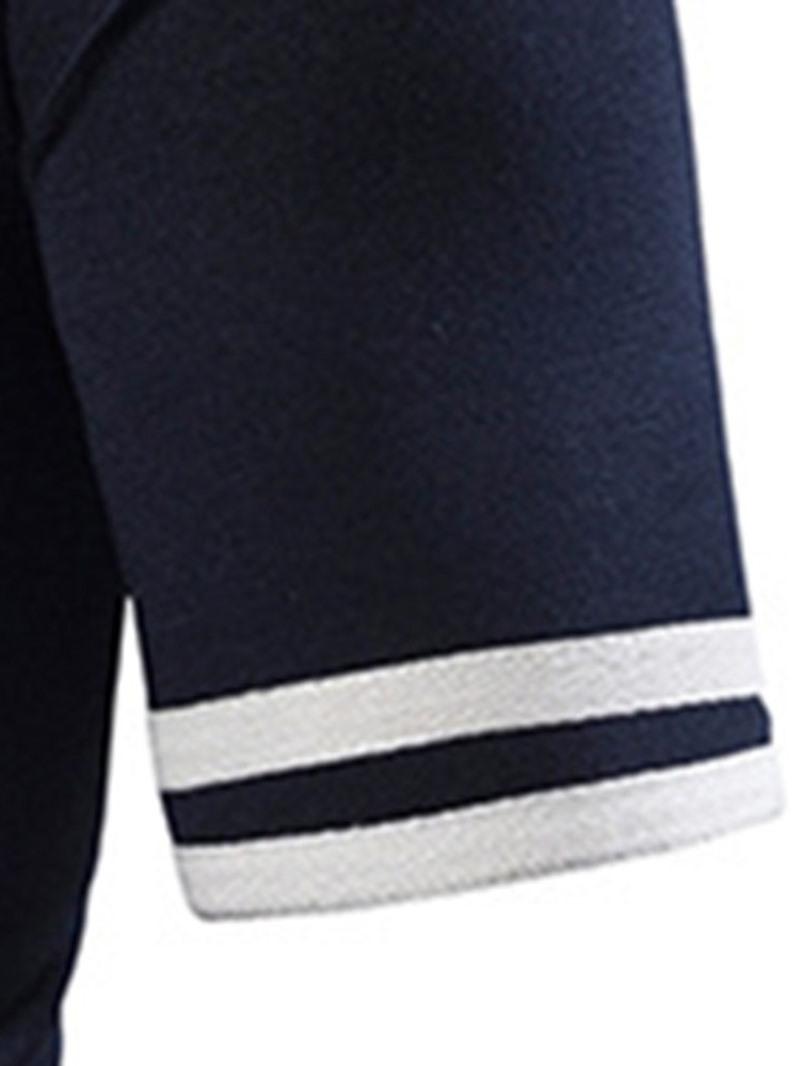 Ericdress Patchwork Color Block Mens Casual Summer Polo Shirt