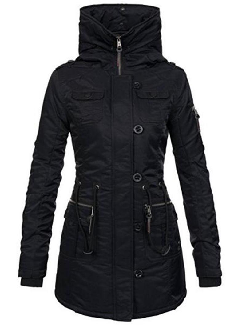 Ericdress Plain Mid-Length Slim Hooded Women's Coat