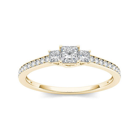 1/2 CT. T.W. Diamond 14K Yellow Gold 3-Stone Engagement Ring, 7 , No Color Family