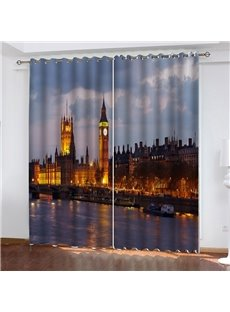3D HD Digital Scenery Print Blackout Dust-proof Living Room Curtains with the Thames Night View Made of Water-Repellent 200g/㎡Fabrics No Pilling No Fa