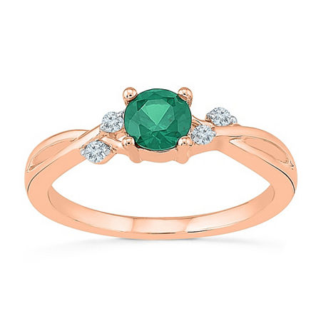 Womens Lab Created Green Emerald 10K Gold Cocktail Ring, 5 , No Color Family