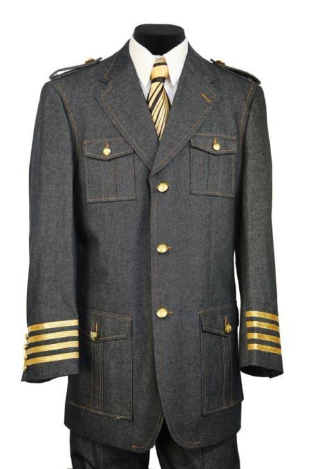 Mens Military Style Tri-Stripe Zoot Suit Black