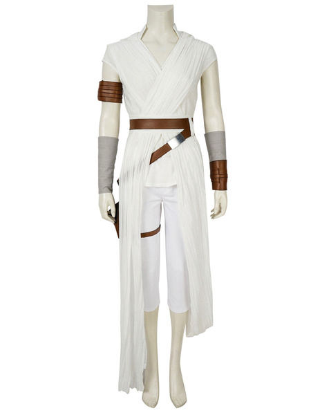 Milanoo Star Wars The Rise Of Skywalker Rey Linen White Drama Cosplay Costumes