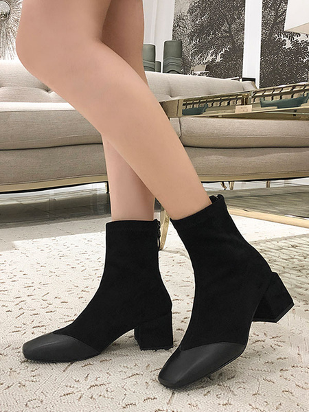 Milanoo Women Ankle Boots Suede Leather Square Toe Color Block Chunky Heel 2 Booties