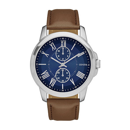 Geneva Mens Blue Dial Brown Strap Watch, One Size , No Color Family