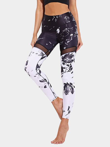 Yoins Active Net Yarn Random Floral Print Sports Leggings in Black