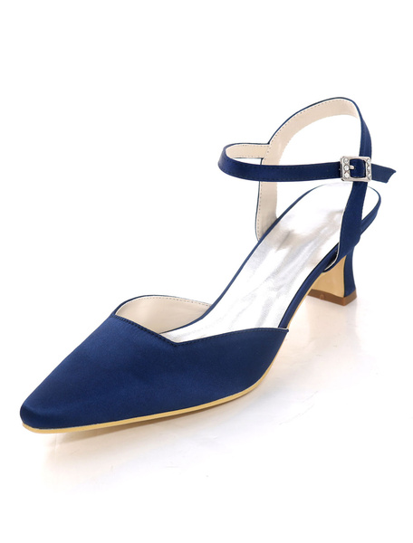 Milanoo Mother Of The Bride Shoes Dark Navy Pointed Toe Buckle Detail Kitten Heel Wedding Guest Shoes