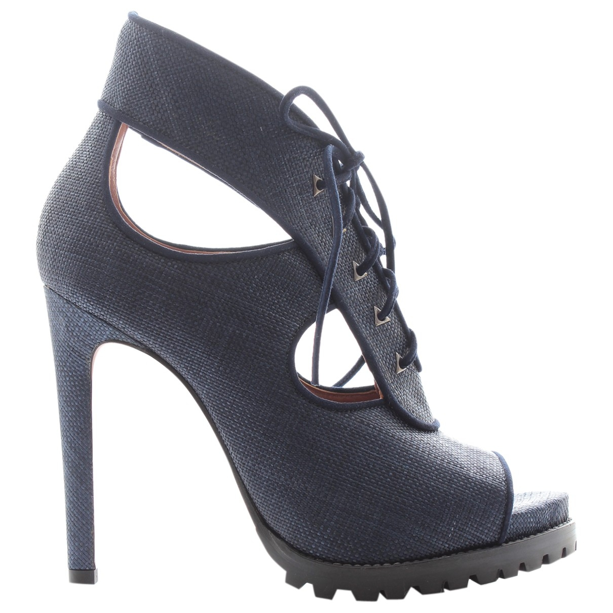 Alaïa \N Navy Leather Ankle boots for Women 39 EU