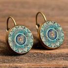 Vintage Mandala Floral Stud Earrings