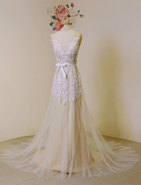 Milanoo Lace Boho Wedding Dress Nude Tulle Bridal Gown Backless A-line Court Train Beach Wedding Dress With Detachable Satin Sash