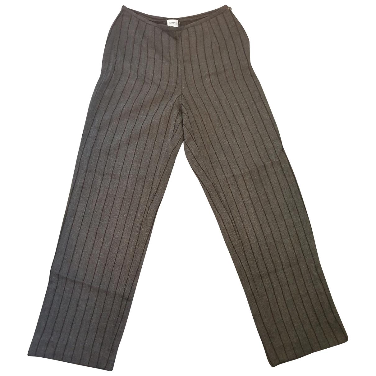 Armani Collezioni \N Grey Cotton Trousers for Women 36 FR