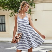Stripe Print Ruffle Hem Cami Dress