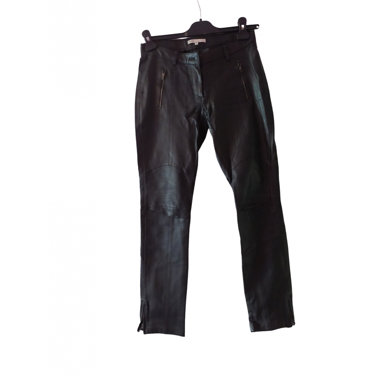 Maje \N Black Leather Trousers for Women 36 FR