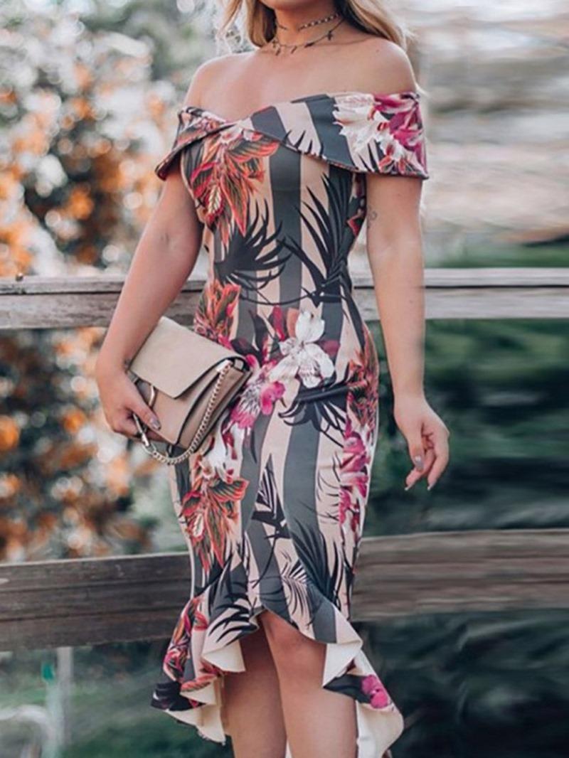Ericdress Off Shoulder Asymmetric Elegant Cold Shoulder Women's Dress