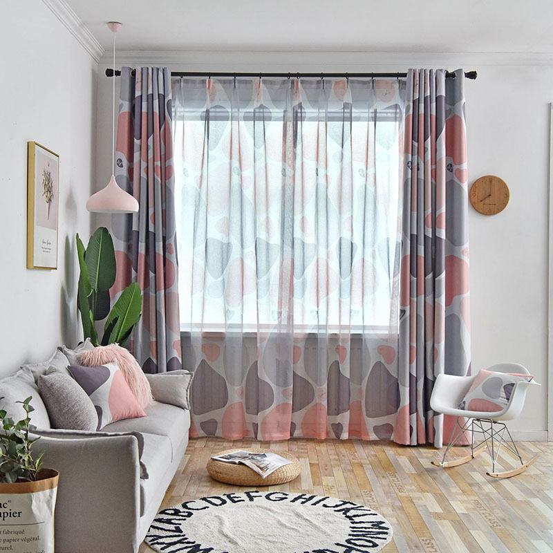 Modern Nordic Style Color Block Custom Living Room Sheer Curtains Breathable Voile Drapes No Pilling No Fading No off-lining