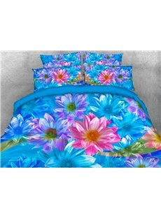Blue and Pink Dasiy Printed 4-Piece 3D Bedding Sets/Duvet Covers