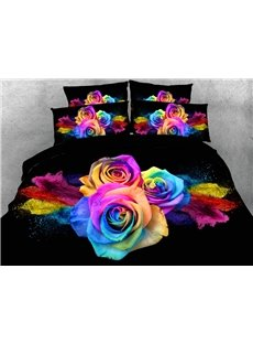 Colorful Roses 3D Digital Printing 5-Piece Tencel Comforter Sets