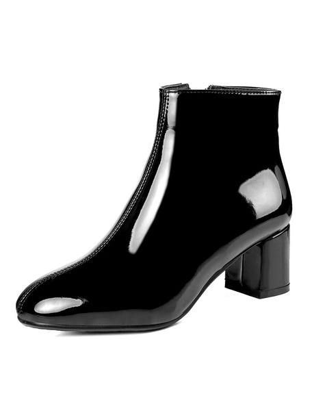 Milanoo Black Ankle Boots Women Square Toe Zip Up Chunky Heel Short Boots
