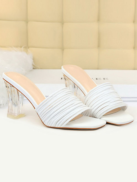 Milanoo Sandal Slippers White PU Leather Square Toe Slip-On Casual Sandal Slides Chunky Slippers