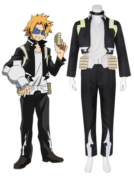 Milanoo Boku No Hero Academia Cosplay Kaminari Denki Black Polyester Vest Pants Cosplay Costumes