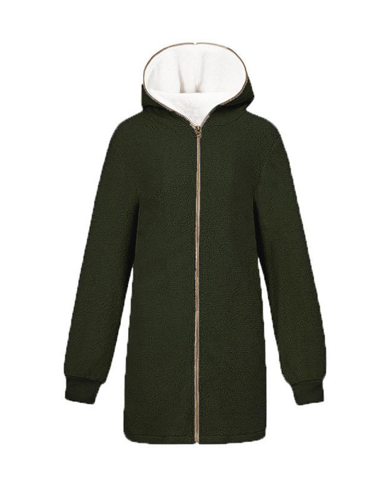 Cardigan Hooded Mid-Length Zipper Plain Patchwork Hoodie