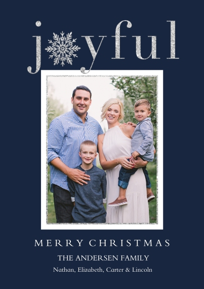 Holiday Photo Cards Flat Glossy Photo Paper Cards with Envelopes, 5x7, Card & Stationery -Joyful Wishes
