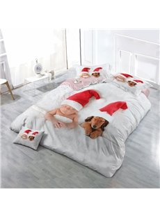 Newborn and Dog Wearing Christmas Hats Wear-resistant Breathable High Quality 60s Cotton 4-Piece 3D Bedding Sets