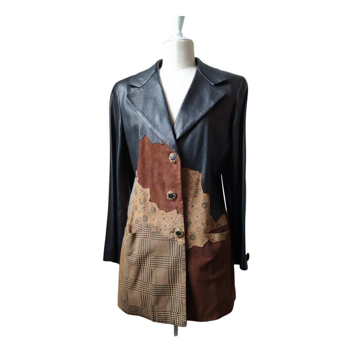 Roberto Cavalli \N Leather Leather jacket for Women 44 IT